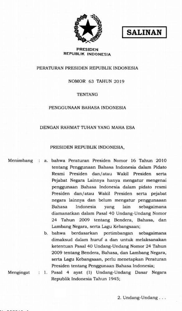 Presiden Jokowi Tandatangani Perpres 63 Tahun 2019