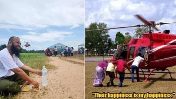 Pengusaha Kaya Mantan Pemulung, Pulang Kampung Ajak Warga Naik Helikopter