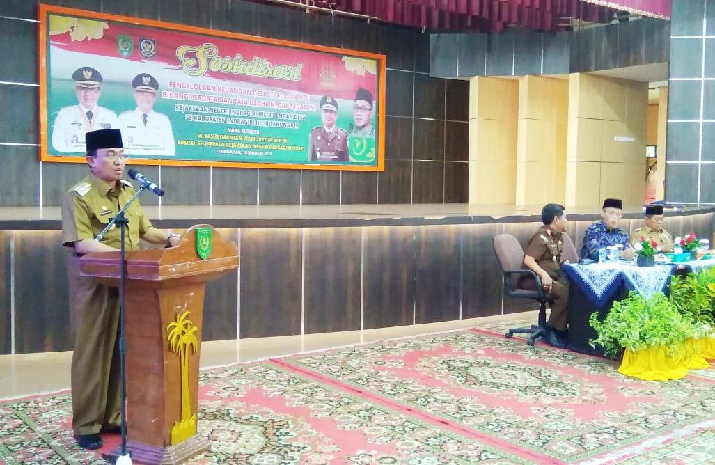 HM Wardan Buka Sosialisasi Pengelolaan Keuangan Desa, TP4D Serta MoU Bidang Datun