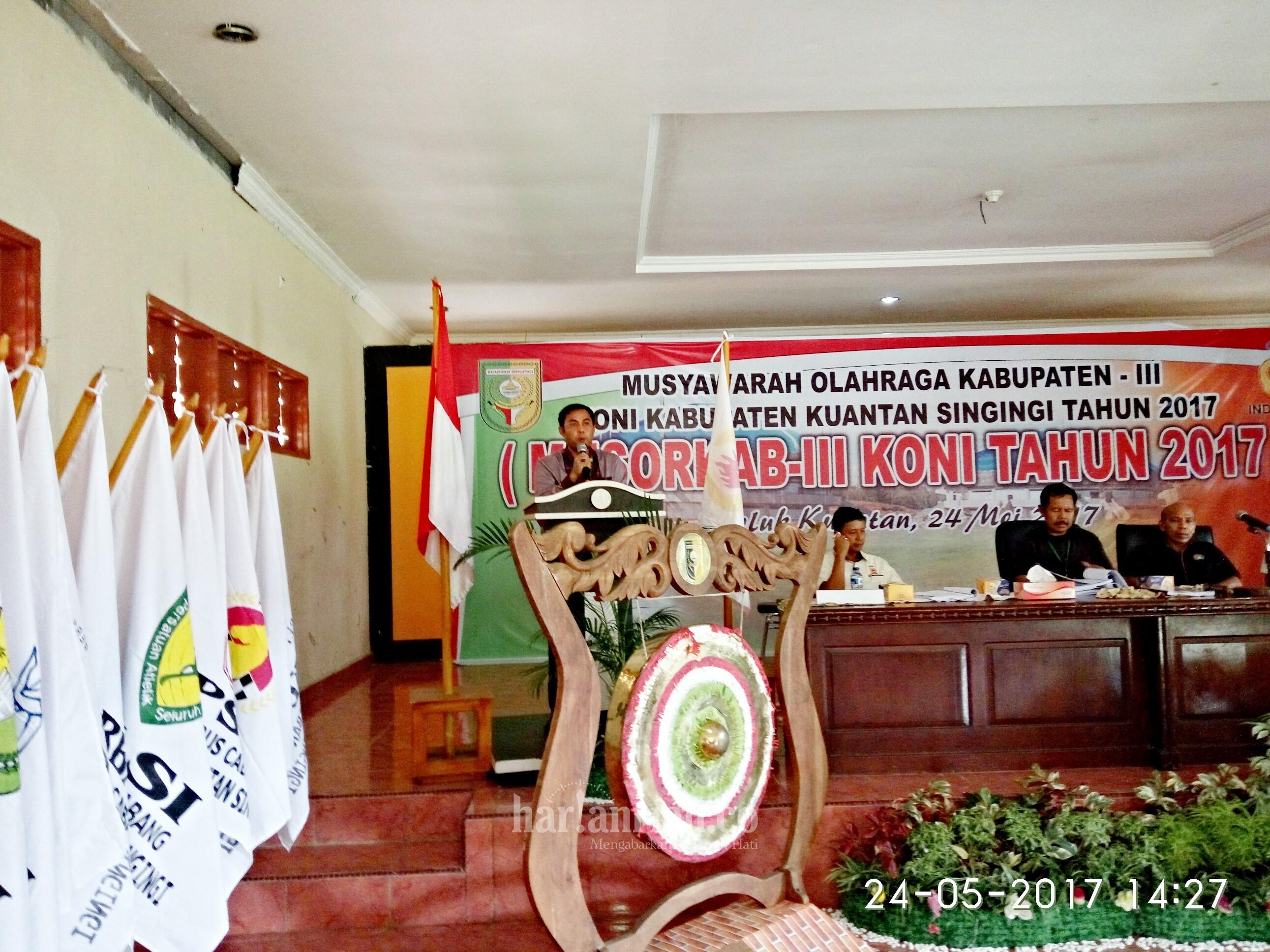 Terpilih Secara Aklamasi, Zulhendri Nazaruddin Pimpin KONI Kuansing Periode 2017-2021