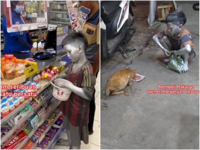 Bocah Silver Berhati Emas yang Rela Sisihkan Uang Demi Beri Makan Kucing