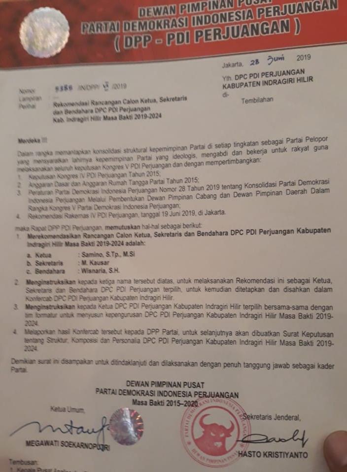 Surat Pergantian Ketua DPC PDI-P Inhil Ditandatangani Megawati Beredar