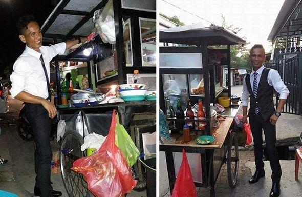 Penjual Bakso Nyentrik di Makassar Viral, Berpenampilan bak Eksekutif Muda