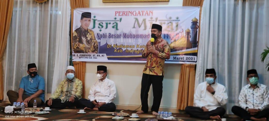 Pertebal Iman dan Taqwa, Ketua DPRD Inhil Gelar Peringatan Isra' dan Mi'raj
