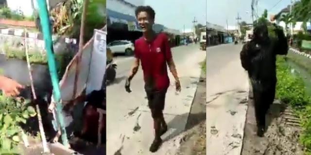 Nekat Buka Siang Hari Saat Puasa, Warung Ambrol, Pelanggan Auto Nyebur Selokan