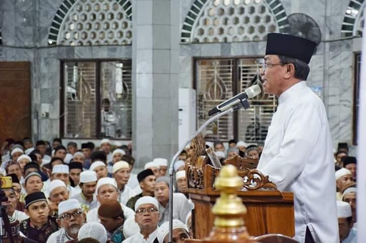 HM Wardan Ikuti Peringatan Isra' Dan Mi'raj 1440 H Di Masjid Raya Al-Huda, Tembilahan
