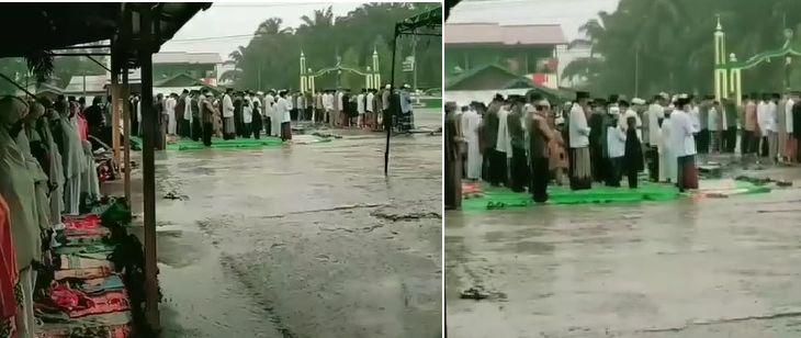 Wanita Ini Dibully usai Rekam Jamaah Salat Idul Fitri Diguyur Hujan Deras