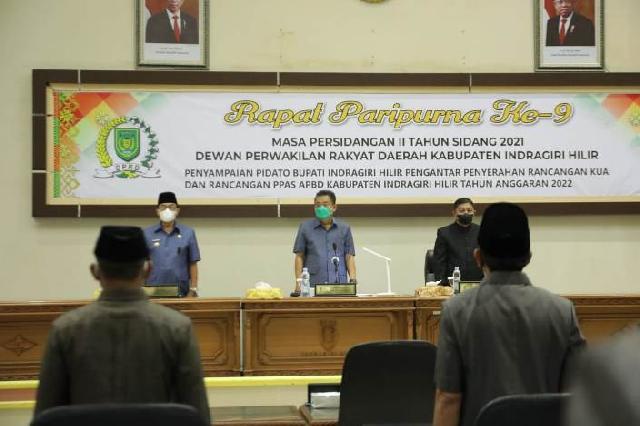 Rapat Paripurna DPRD Inhil Penyerahan KUA Dan PPAS APBD Tahun Anggaran 2022