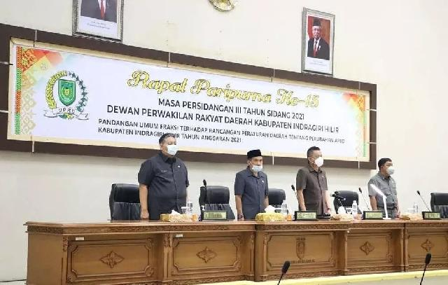 Rapat Paripurna Ke-15, DPRD Inhil Bahas Pandangan Umum Fraksi Terkait Rancangan Peraturan Daerah Tentang Perubahan APBD